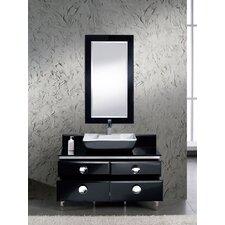 "Moselle 47"" Single Modern Glass Bathroom Vanity Set with Mirror"