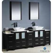 "Torino 84"" Modern Bathroom Vanity Set with Double Sink"