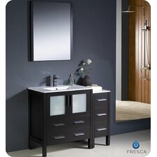 "Torino 42"" Modern Bathroom Vanity Set with Side Cabinet and Undermount Sink"