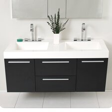"Senza 54.25"" Opulento Modern Double Bathroom Vanity Set with Medicine Cabinet"