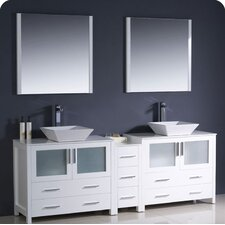 "Torino 84"" Modern Double Sink Bathroom Vanity Set with Side Cabinet and Vessel Sinks"