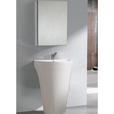 "Parma 22.5"" Pedestal Sink with Medicine Cabinet - Modern Bathroom Vanity Set"