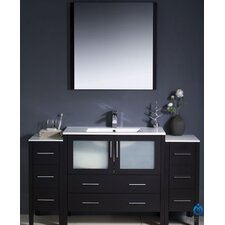 "Torino 60"" Modern Bathroom Vanity Set with 2 Side Cabinets and Undermount Sink"