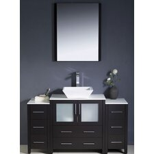 "Torino 54"" Modern Bathroom Vanity Set with 2 Side Cabinets and Vessel Sink"