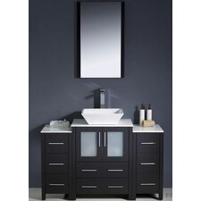 "Torino 48"" Modern Bathroom Vanity Set with 2 Side Cabinets and Vessel Sink"