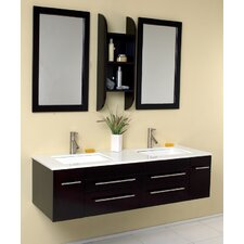 "Stella Bellezza 59"" Double Modern Bathroom Vanity Set with Mirror"