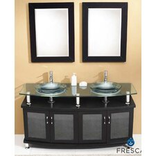 "<strong>Fresca</strong> Classico Contento 60"" Modern Double Sink Bathroom Vanity Set"