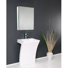 "Quadro 22.5"" Pedestal Sink Vanity Set with Medicine Cabinet Set"
