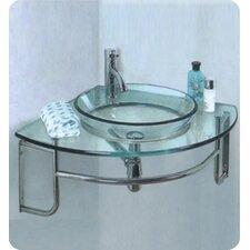 "Vetro Ordinato 24"" Modern Corner Mount Bathroom Vanity with Single Sink"