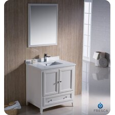 "Oxford 30"" Single Traditional Bathroom Vanity Set with Mirror"