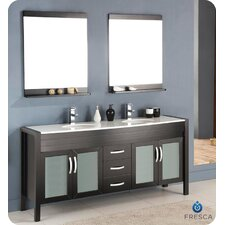 "Classico Infinito 71"" Modern Double Sink Bathroom Vanity Set"