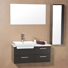 "<strong>Fresca</strong> Stella 35.5"" Caro Wood Modern Bathroom Vanity Set with Mirrored Side Cabinet"