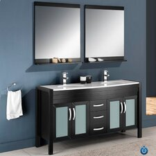 "Classico Infinito 60"" Modern Double Sink Bathroom Vanity Set"