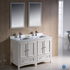 "Oxford 48"" Double Traditional Bathroom Vanity Set with Mirror"