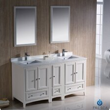"Oxford 60"" Traditional Bathroom Vanity Set with Double Sink"