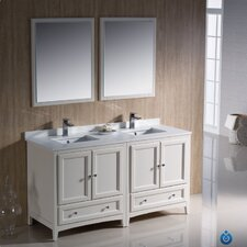 """Oxford 60"""" Double Traditional Bathroom Vanity Set with Mirror"""