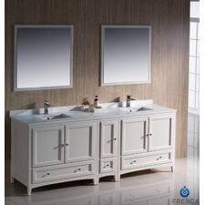 "Oxford 84"" Traditional Double Sink Bathroom Vanity Set"
