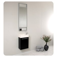 "Senza 15.5"" Pulito Small Modern Bathroom Vanity Set with Tall Mirror"