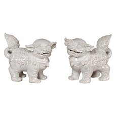 Ceramic Foo Dog Figurine (Set of 2)