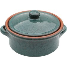 Non Stick Terracotta Casserole Dish in Peacock Green