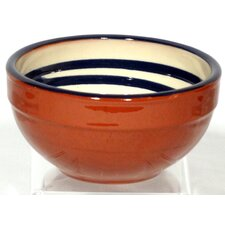 Terracotta Pudding Bowl in Cream / Blue