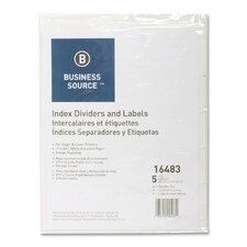 Index Dividers, 3HP, 5-Tab, White