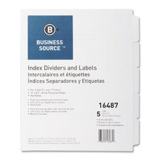 Index Dividers, Unpunched, 5-Tab, 25 Sets per Box, White