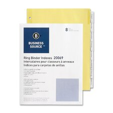 "Binder Indexes,Eight 1/2"" Tabs,11""x8-1/2"",8/ST,Buff/Clear"