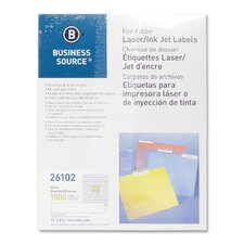 <strong>Business Source</strong> Label, File Folder, Laser/Inkjet, 1500 per Pack, White