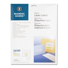 "<strong>Business Source</strong> Mailing Labels, Laser, 1""x2-5/8"", 750 per Pack, White"