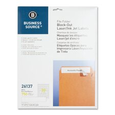 "<strong>Business Source</strong> Block-Out File Folder Labels, Laser/Inkjet, 750 per Pack, 2/3""x3-7/16, White"