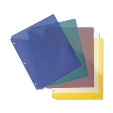"Binder Pockets, Poly, H/20 Shts, 8-1/2""x11"",5 per Pack, Assorted"