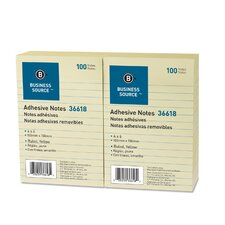 "Adhesive Notes, Ruled, 4""x6"", 100 Sheets per Pad, 12 per Pack, Yellow"