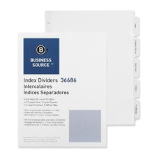Index Dividers, 3HP, Reinforced, 5-Tab, 5 ST per Pack, White