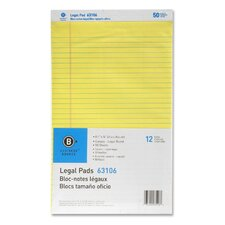 Micro-Perforated Pad, Legal Ruled, 50 Sheets, Legal, Canary, 12-Pack
