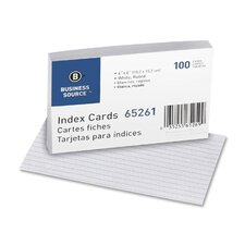 "<strong>Business Source</strong> Index Cards, Ruled, 90lb., 4""x6"", 100 per Pack, White"