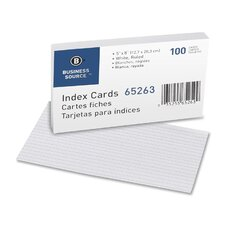 "Index Cards, Ruled, 90lb., 5""x8"", 100 per Pack, White"