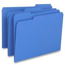 File Folder, 1-Ply, 1/3 Cut Assorted Tabs, Letter, 100 per Box, Blue