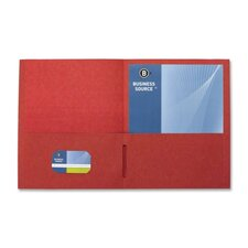 "<strong>Business Source</strong> 2-Pocket Folders, 125 Sh. Cap., 11""x8-1/2"", 25 per Box, Red"