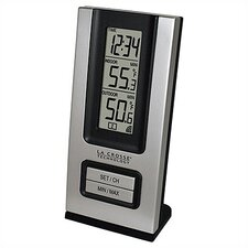 Wireless Silver Indoor/Outdoor Thermometer & Digital Clock