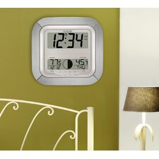 Atomic Digital Wall Clock with Moon Phase & Indoor/Outdoor Temperature in Silver