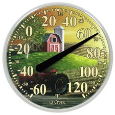 "13.5"" Farm Thermometer Wall Clock"