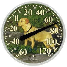 "13.5"" Dog Thermometer Wall Clock"