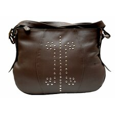 Metal Pin Studded Leather Tote Bag