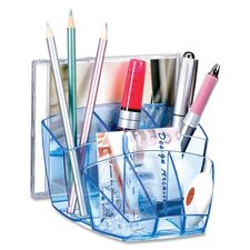 "Desktop Organizer,8 Compartments,5-3/5""x6""x3-3/5"",Ice Blue"