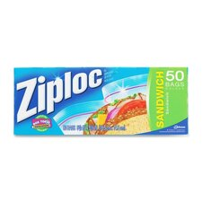 "<strong>JohnsonDiversey</strong> Ziploc Sandwich Bags,Resealable,1.2ml,6-1/2""x6"",50/BX,CL"