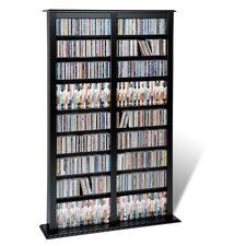 Floor Media Double Width Barrister Multimedia Storage Rack