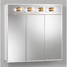 Frameless Ashland Surface Mount Cabinet with Four Bulbs in White
