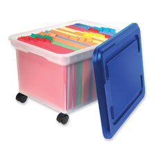 "<strong>Innovative Storage Design</strong> Rolling File Tote, 18""x14""x10-9/10"", Clear w/ Blue Lid"