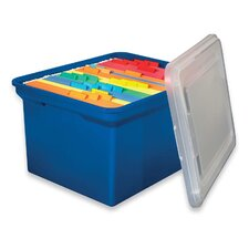 "File Tote, 14-1/8""x18""x10-13/6"", Blue w/ Clear Lid"